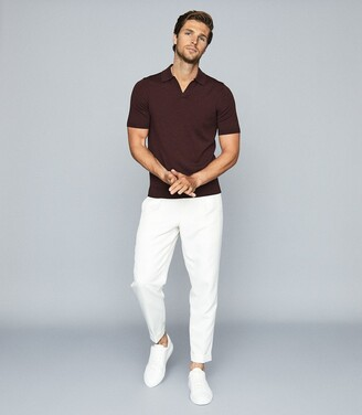 Reiss Duchie - Merino Wool Open Collar Polo Shirt in Bordeaux