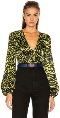 Ganni Silk Stretch Satin Top in Lime Tiger | FWRD