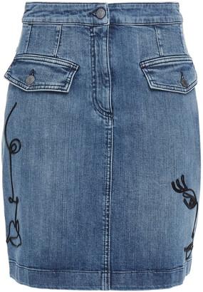 Moschino Embroidered Denim Mini Skirt