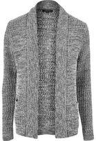 River Island MensGrey soft foldback cardigan