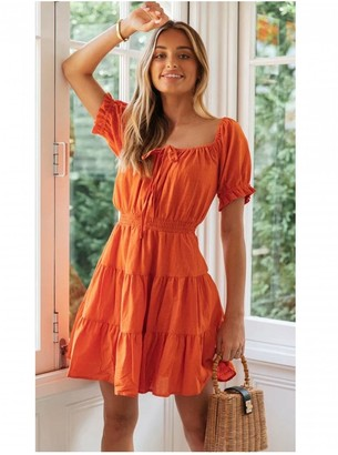 FS Collection Linen Short Sleeve Layered Mini Dress In Orange