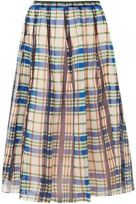 Marni Organdie Checked Pleated Cotton-organza Midi Skirt