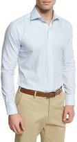 Peter Millar Striped Long-Sleeve Sport Shirt, Blue Vento