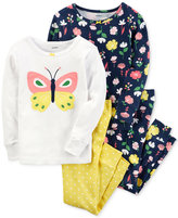 Carter's 4-Pc. Butterfly and Floral-Print Cotton Pajama Set, Baby Girls (0-24 months)