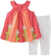 Kids Headquarters 2-Pc. Dot-Print Flowers Tunic & Capri Leggings Set, Baby Girls (0-24 months)