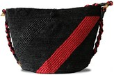 Maraina London Annabel Raffia Crocheted Bag- Black & Red