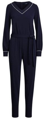 Ralph Lauren Belted Long-Sleeve Jumpsuit
