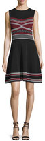 Shoshanna Sleeveless Multi-Striped Fit-And-Flare Dress, Jet/Port