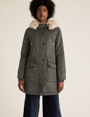 Marks and Spencer Satin Look Waisted Parka Coat