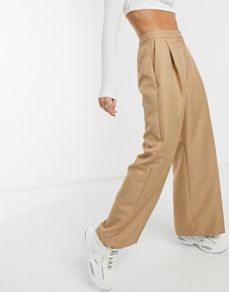 ASOS DESIGN slouchy dad wide-leg suit pants in camel