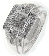 Paradise Jewelers Women's 0.30 CT Diamond Micro Pave Accented Square 10K White Gold Band, Size 7