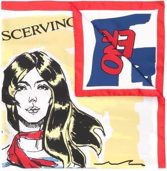Ermanno Scervino Silk Graphic Print Scarf