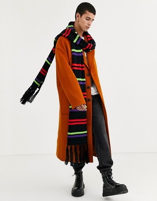 ASOS DESIGN xxxl knitted scarf in black with bright stripes