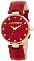 Steve Madden Women's Paisley-Embossed Crystal Dial Leather Strap Watch