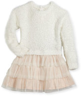 Billieblush Drop-Waist Sweater Tulle Dress, Size 2-3
