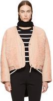 Alexander Wang Pink Twill Shearling Bomber Jacket