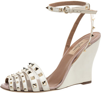 Valentino White Leather Rockstud Wedge Ankle Strap Sandals Size 38.5