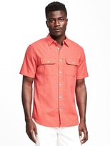 Old Navy Regular-Fit Linen-Blend Shirt For Men