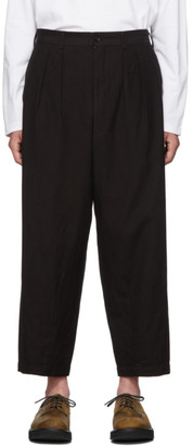 Comme des Garcons Homme Black Wool Gabardine Dyed Trousers