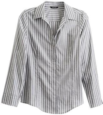 Misook Classic Stripe Cotton Button-Up Shirt