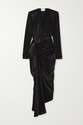 Redemption Asymmetric Draped Glittered Velvet Dress - Black