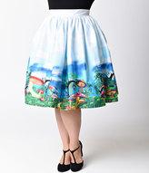 Unique Vintage Plus Size 1950s High Waist Wonderland Circle Swing Skirt