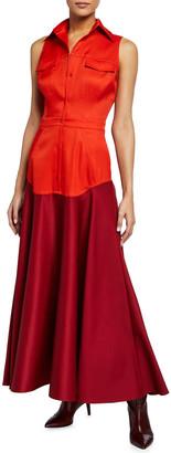 Brandon Maxwell Stretch Gazaar Tea-Length Dress