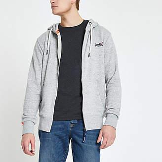 River Island Superdry grey logo embroidered zip hoodie
