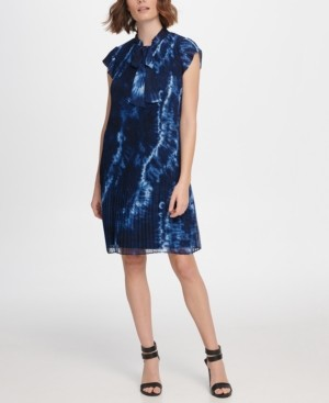 DKNY S/S Pleated Shift with Tie Neck