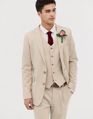Asos Design DESIGN skinny suit jacket in cream pinstripe