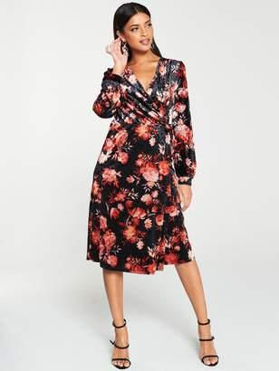 Very Velvet Printed Wrap Midi Dress - Black