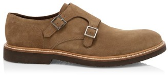 Eleventy Suede Double Monk-Strap Shoes