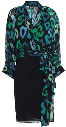 Just Cavalli Paneled Leopard-print Chiffon Mini Wrap Dress