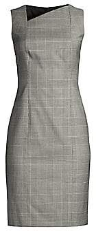 BOSS Women's Delray Natural Wool Stretch Check Sheath Dress