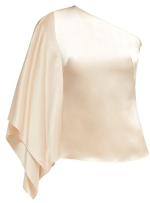 Osman Draped Asymmetric Satin Top - Womens - Ivory