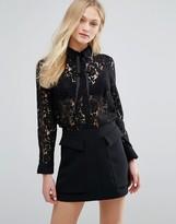 MANGO Lace Long Sleeve Shirt