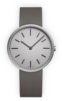 Uniform Wares M37 Men's two-hand watch in brushed steel with dark grey nitrile rubber strap