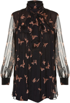 Alexander McQueen High-neck moth-print silk-crepon blouse