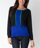 Yuka Paris Olympian Blue Contrast Faux Cardigan Sweater