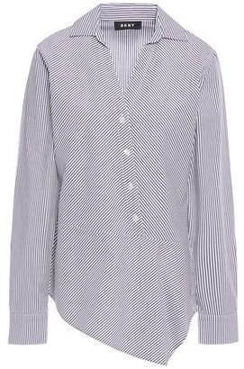 DKNY Asymmetric Striped Cotton-blend Poplin Shirt