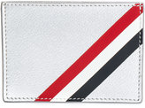 Thom Browne Single Card Holder With Red, White And Blue Diagonal Stripe In Silver Pebble Grain & Calf Leather