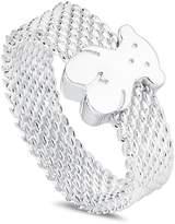 Tous Sterling Silver Mesh Bear Ring