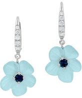 Rina Limor Fine Jewelry Hand-Carved Aquamarine & Diamond Flower Earrings