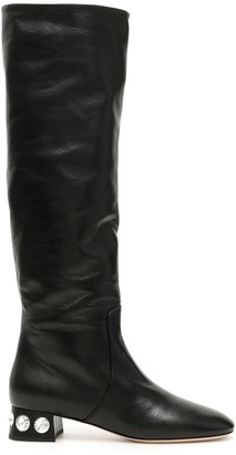 Miu Miu Crystal Embellished Long Boots