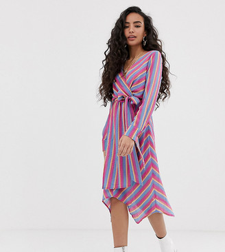 Glamorous Petite wrap front dress with tie waist in bright stripe-Multi
