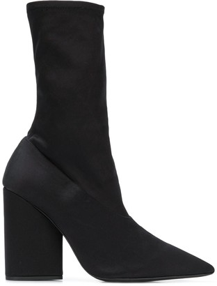 Yeezy Pointed Block Heel Sock Boots