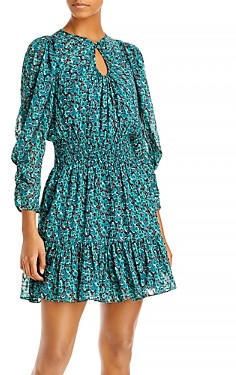 Rebecca Taylor Roses Printed Keyhole Dress