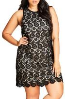 City Chic Plus Size Women's Tea Party Lace Shift Dress