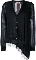 No.21 asymmetric lace hem cardigan - women - Silk/Cotton/Polyamide/Acetate - 42