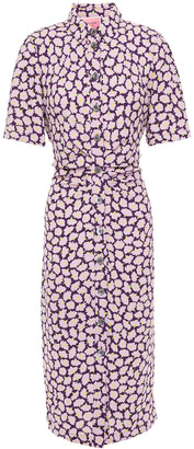 Kate Spade Gathered Floral-print Cady Midi Shirt Dress